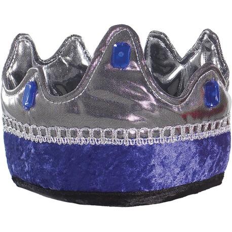 Corona de rey azul y plateada