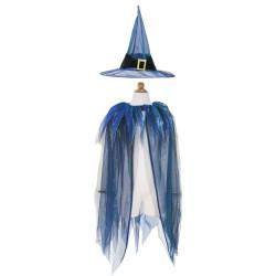 Disfraz de bruja con capa y sombrero (5-7 años)