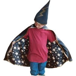 Disfraz de mago con capa y sombrero (4-6 años)