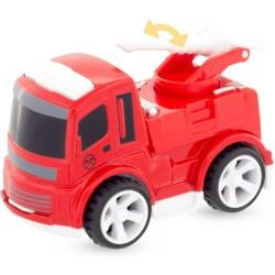 Camión de bomberos con manguera y plataforma baja