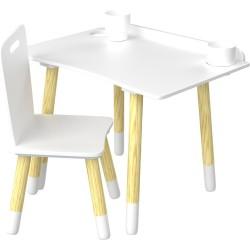 Escritorio y silla de madera de color gris