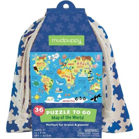 Puzle en bolsa de 36 piezas del mapamundi