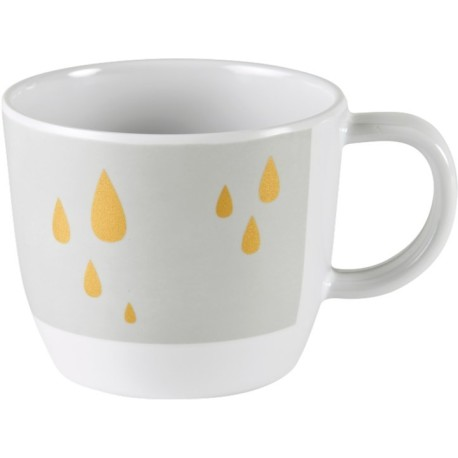 Taza con contorno gris/dorado