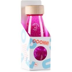 Botella sensorial con objetos flotantes (rosa)