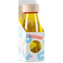 Botella sensorial con objetos flotantes (amarillo)
