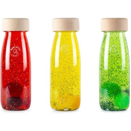 Pack de 3 botellas sensoriales con objetos flotantes (twilight)