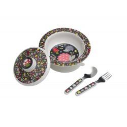 Vajilla con bol antideslizante con tapa, cuchara y tenedor Hedgehog