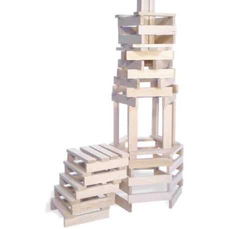 Juego de construcción de 200 bloques de madera (200 natural wood pieces set)