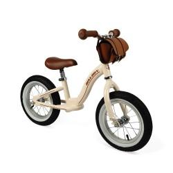 Bicicleta de metal beige con maletín