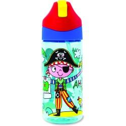 Botella infantil de Tritán con caña Pirata