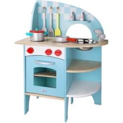 Cocina azul de madera