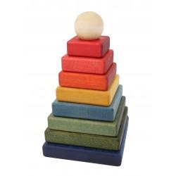 Pirámide apilable arcoíris de madera