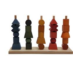 Formas apilables arcoíris de madera