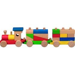Tren de madera con cubos apilables Arcoíris