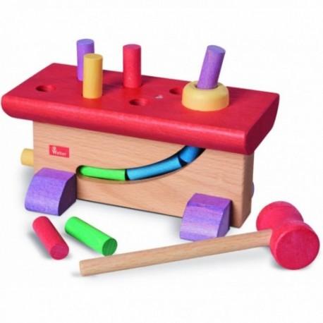 Banco de madera de colores para golpear