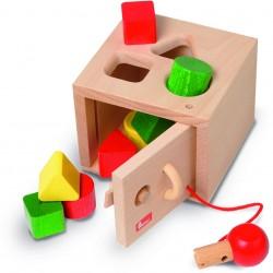Caja fuerte de madera para encajar formas