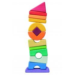 Torre apilable de madera con piezas irregulares de colores