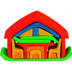 Casa de madera con sus complementos de color neón rojo