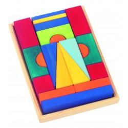 """20 Bloques de construcción de colores """"Toscana"""" de madera"""