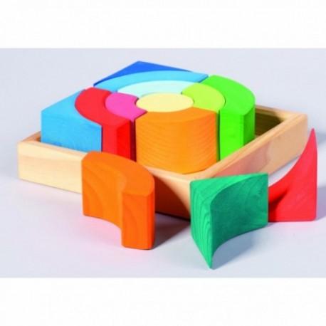 Set de construcción circular de colores de madera