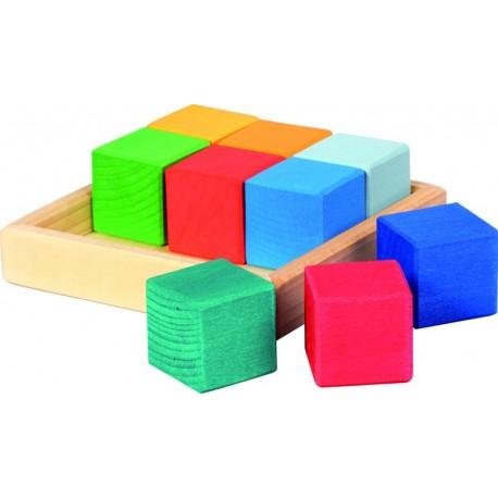 Set de construcción de cubos de colores de madera