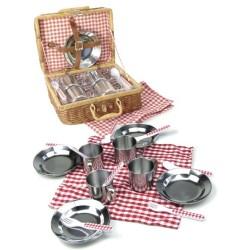 Cesta de picnic de juguete con accesorios (Dînette Panier à pique-nique - Tin doll's picnic in wicker basket)