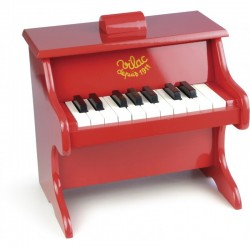 Piano rojo de juguete con partituras (Piano rouge 18 touches avec partitions - Red piano with scores)