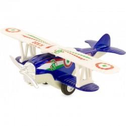 Avión biplano retro-fricción azul