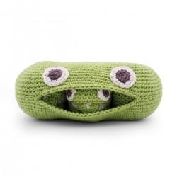 Sonajero eco con forma de guisantes verdes