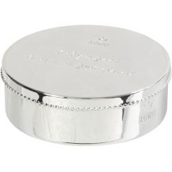 Imprime la huella de mano y pie en recipiente de plata