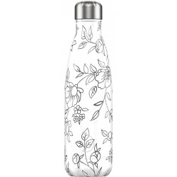Botella inox contorno de flores de 500 ml