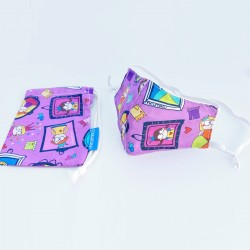 Mascarilla infantil reutilizable + funda (regulable) de 2 a 12 años de princesas