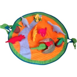 Alfombra/bolsa con 7 dinosaurios