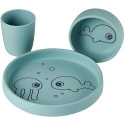 Vajilla de silicona de animales marinos azul