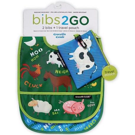 Pack de 2 baberos Bib2Go granero (Dinnerware Bib2Go Barnyard)