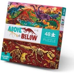 Puzle arriba y abajo del mundo de los dinosaurios de 48 piezas
