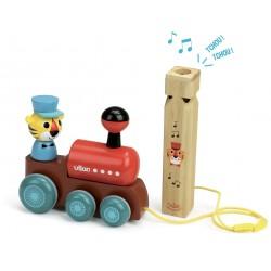 Tren de arrastre de madera con silbato musical