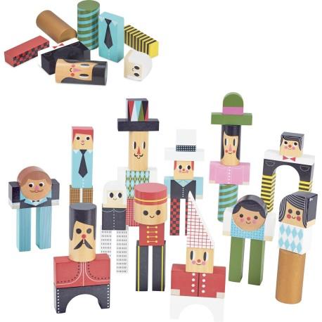 Bloques de madera para construir personajes por Ingela P. Arrhenius (Les bonhommes en cubes Ingela P. Arrhenius)