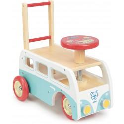 Autobús retro andador y correpasillos 2 en 1 de madera