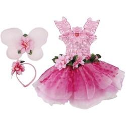 Disfraz de hada con flores rosas (3-6 años)