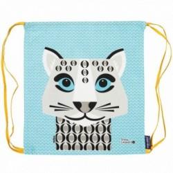 Mochila de cordones 100% algodón orgánico del leopardo de las nieves