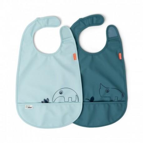 Pack de 2 baberos impermeables con velcro color azul