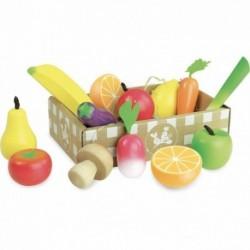 Set de frutas y verduras de madera