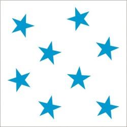 """Muselina pequeña de algodón """"fluro blue"""" estampado medium star"""