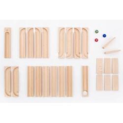 Set de construcción de 26 piezas de circuitos de canicas de madera