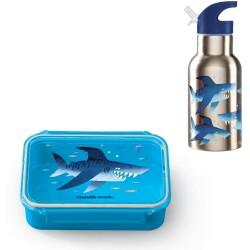 Pack de fiambrera Bento Box + botella isotérmica acero inoxidable del tiburón