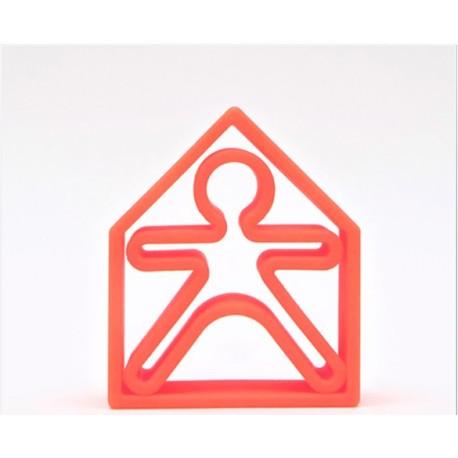 Kit de juguetes de silicona (muñeco + casa) de color rojo
