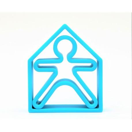 Kit de juguetes de silicona (muñeco + casa) de color azul