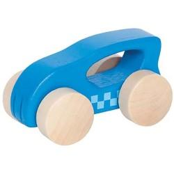 Mini coche de madera azul