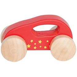 Mini coche de madera rojo